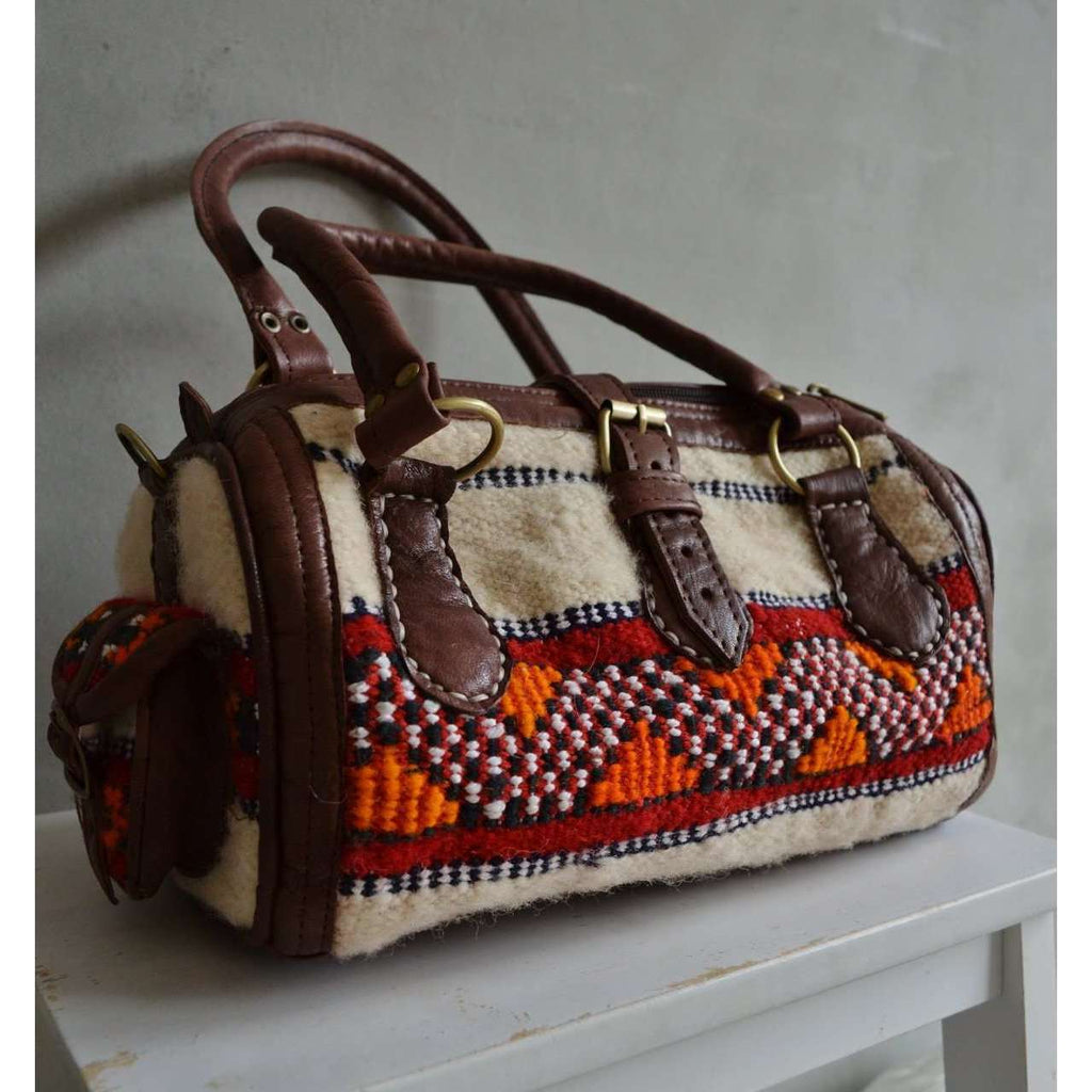 Moroccan Kilim Leather Satchel Cross Shoulder Straps Berber style No. 8 - Maison De Marrakech