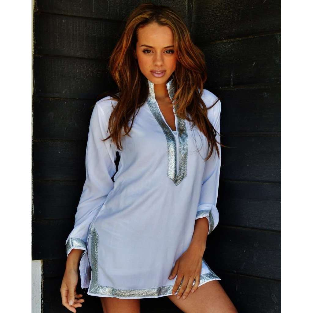 White with Silver Maryam Style Tunic Shirt - Maison De Marrakech