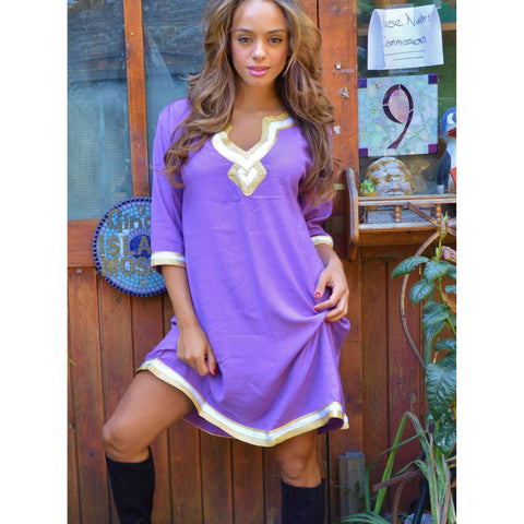 Lilac with Gold Embroidery Boho Tunic - Maison De Marrakech
