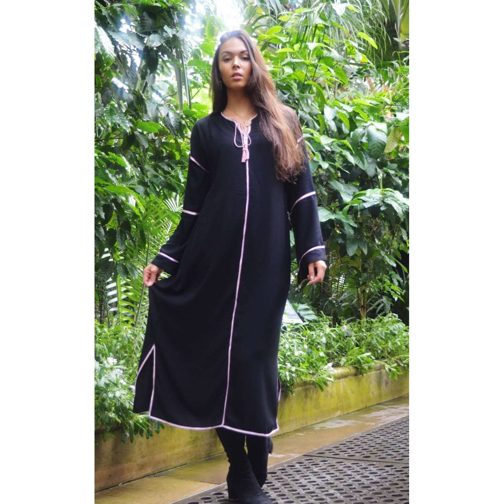 Adriana Black Kaftan, Moroccan Kaftan, maxi dress, beach cover ups, beach dress, plus size, winter dress, gift - Maison De Marrakech