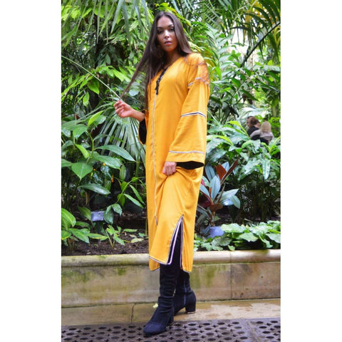 Adriana Yellow Moroccan Kaftan, Maxi Dress - Maison De Marrakech