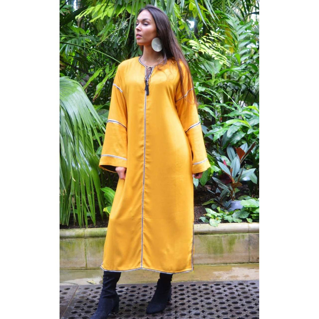 Adriana Yellow Moroccan Kaftan, Maxi Dress,Adriana Yellow Moroccan Kaftan, Maxi Dress