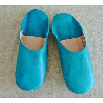 Turquoise Plain Babouche Slippers