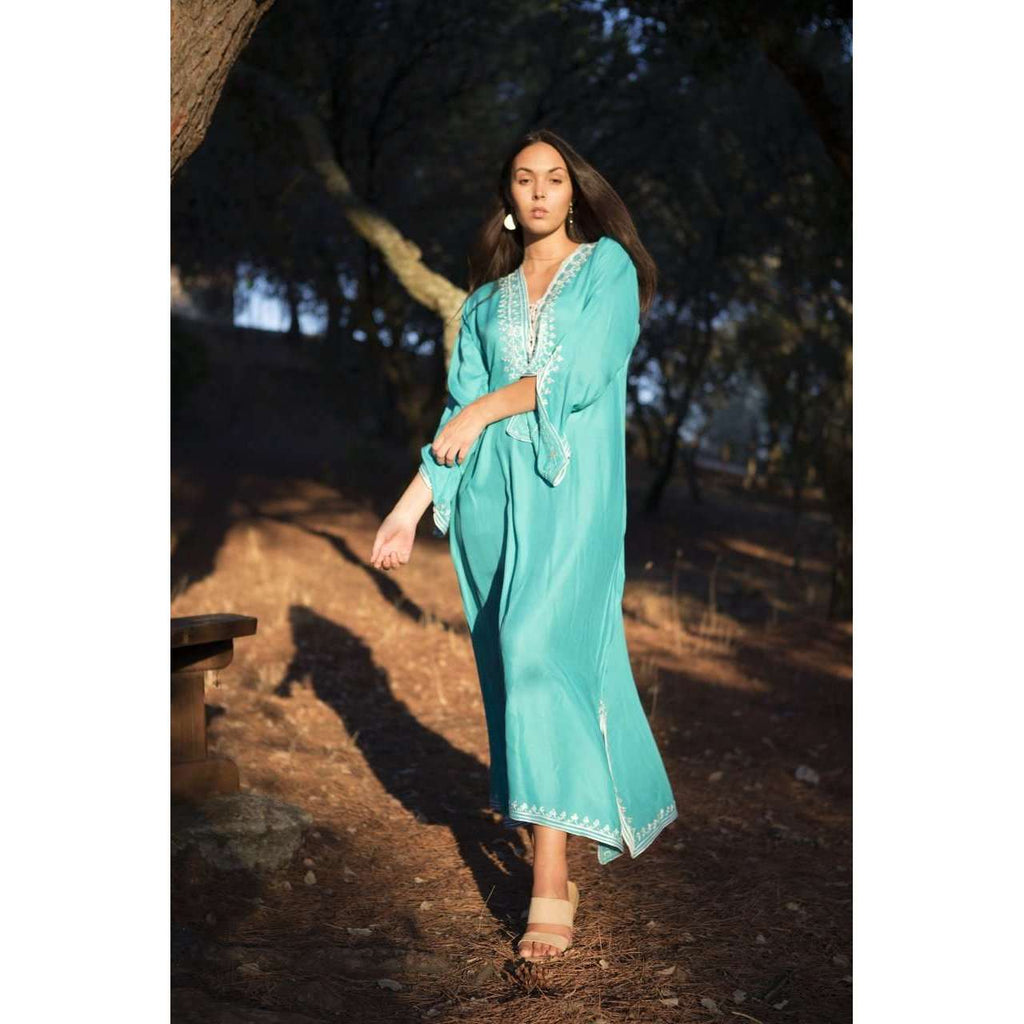 Emerald Green with White Caftan Kaftan Nadia Maxi Dress-moroccan kaftan - Maison De Marrakech