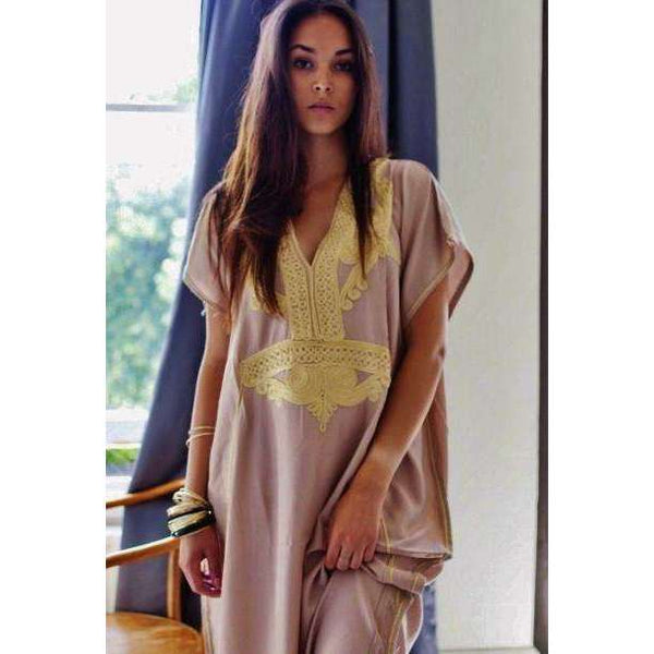Beige Marrakech Resort Lounge Wear Caftan Kaftan with Gold Embroidery - Maison De Marrakech