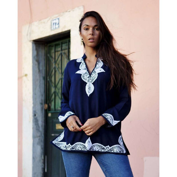 Navy Blue Salma Moroccan Tunic- Embroidery Tunic - Maison De Marrakech