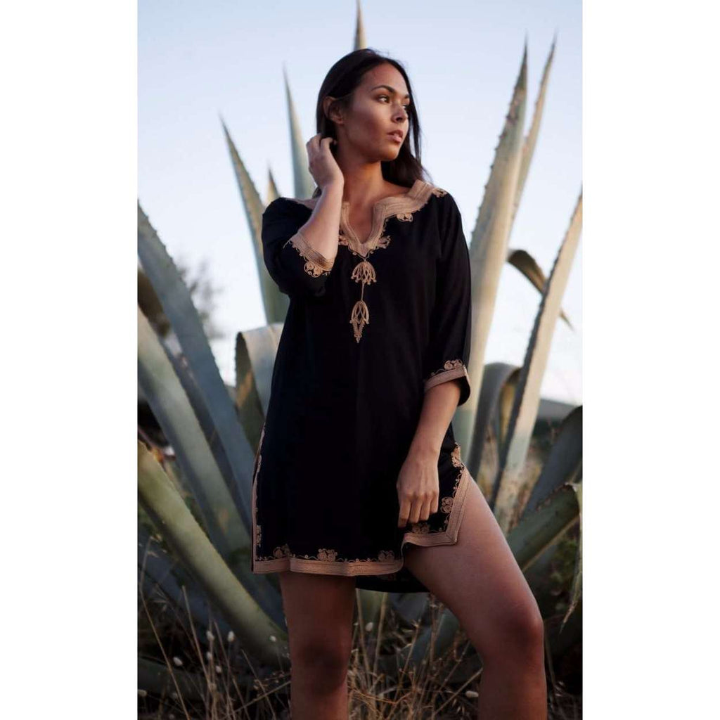 Black Tunic with Dark Golden Moroccan Embroidery-  Kalina Style Morccan Tunic - Maison De Marrakech