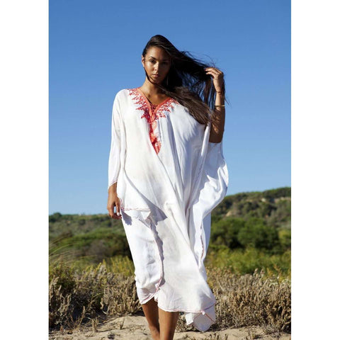 Beach White Neon Orange Embroidery Resort Caftan Kaftan -beach cover ups, beach wedding kaftan - Maison De Marrakech