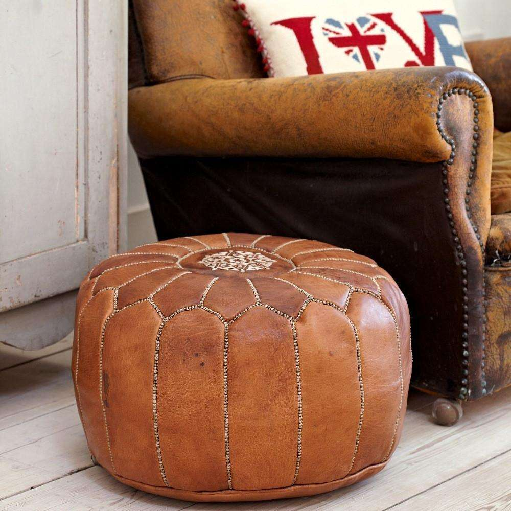 Tan Brown Moroccan Leather Pouf -for Gifts - Maison De Marrakech