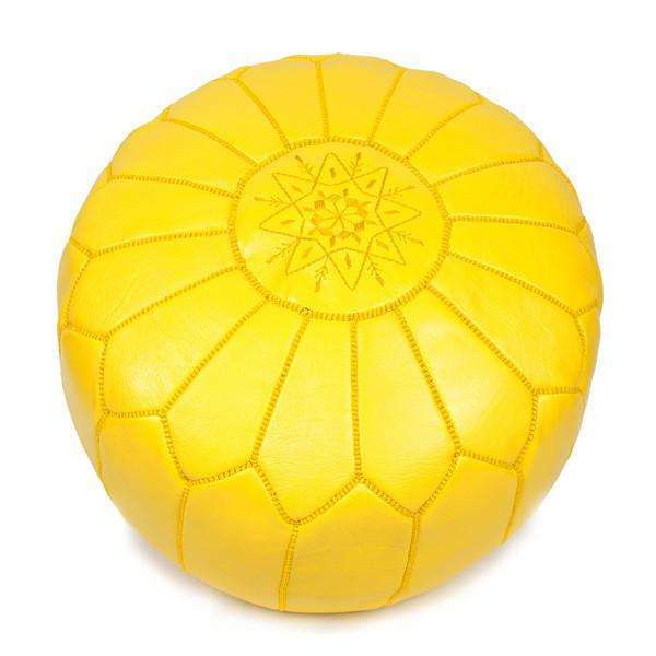 Yellow Moroccan Leather Pouffe Pouf