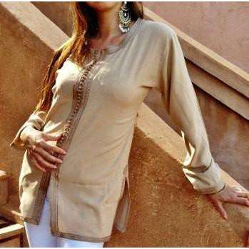 Beige Embroidered Boyfriend Magrib Shirt - Maison De Marrakech