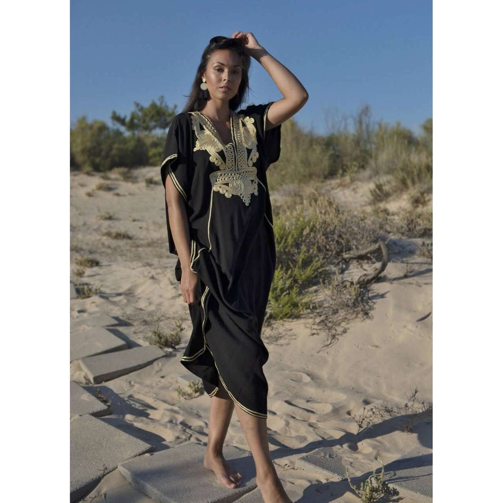 Black with Gold Embroidery Marrakech Resort Kaftan -Moroccan Kaftan - Maison De Marrakech