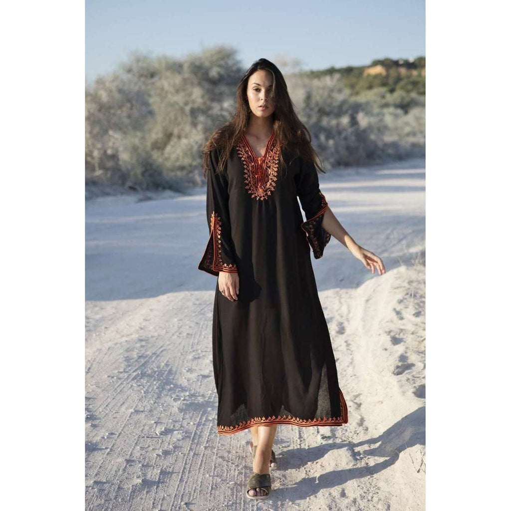 Black with Orange Caftan Kaftan Nadia Maxi Dress-moroccan kaftan - Maison De Marrakech