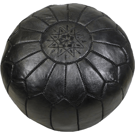 Black Moroccan Leather Pouf - Maison De Marrakech