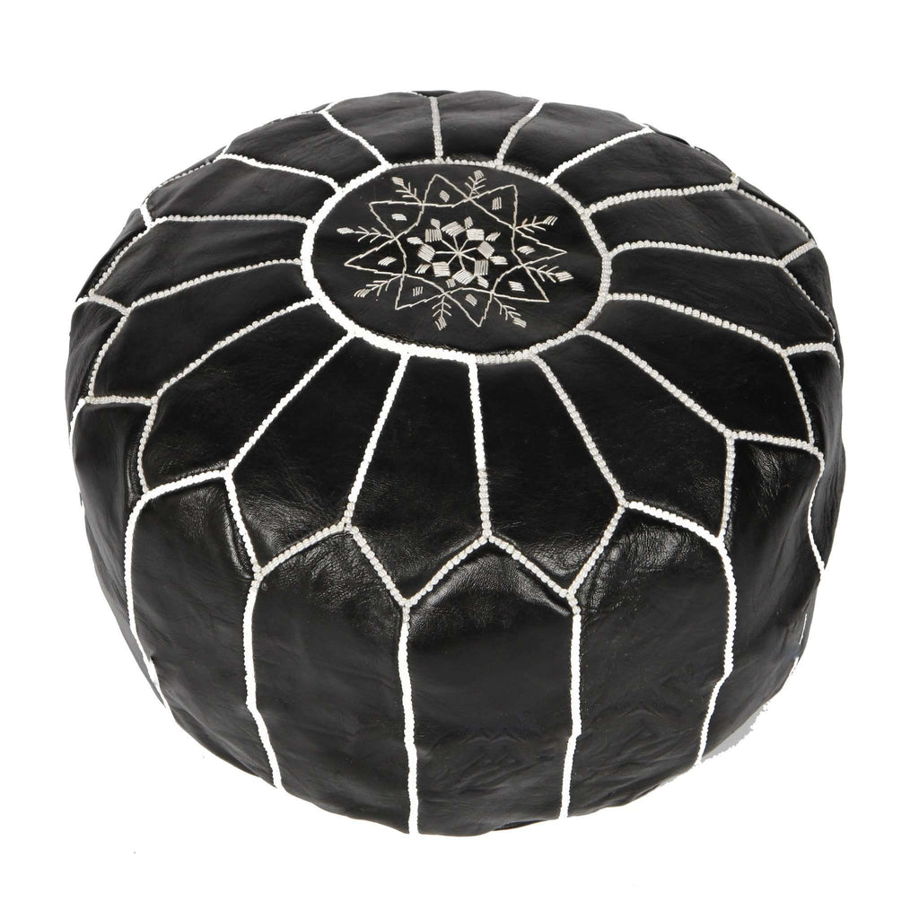 Black with White Moroccan Leather Pouffe Pouf - Maison De Marrakech