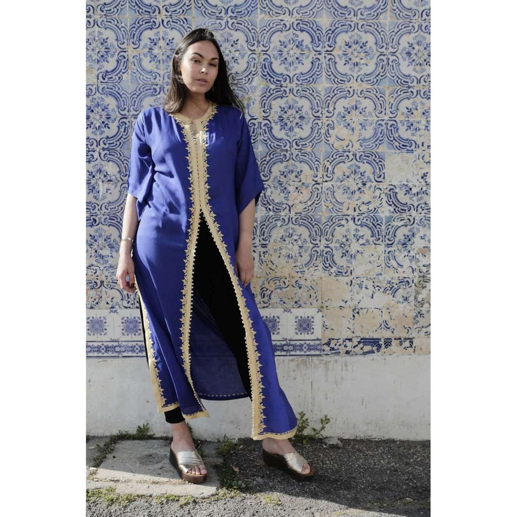 Blue Gold Kaftan Maxi Dress- Gypsy Style,Blue Gold Kaftan Maxi Dress- Gypsy Style