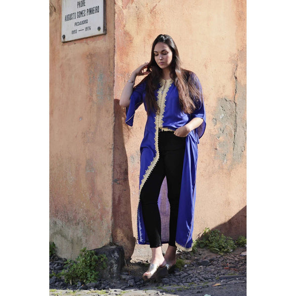 Blue Gold Kaftan Maxi Dress- Gypsy Style - Maison De Marrakech