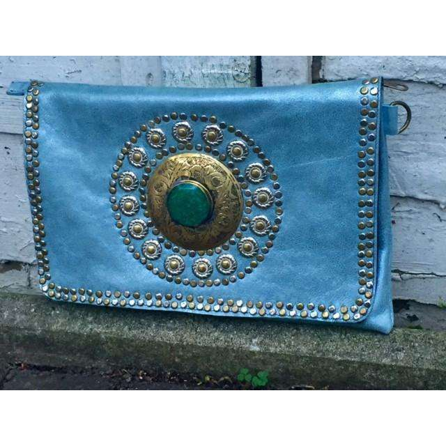 Turquoise Leather Gem Handmade Clutch with Shoulder Straps -Moroccan Clutch - Maison De Marrakech