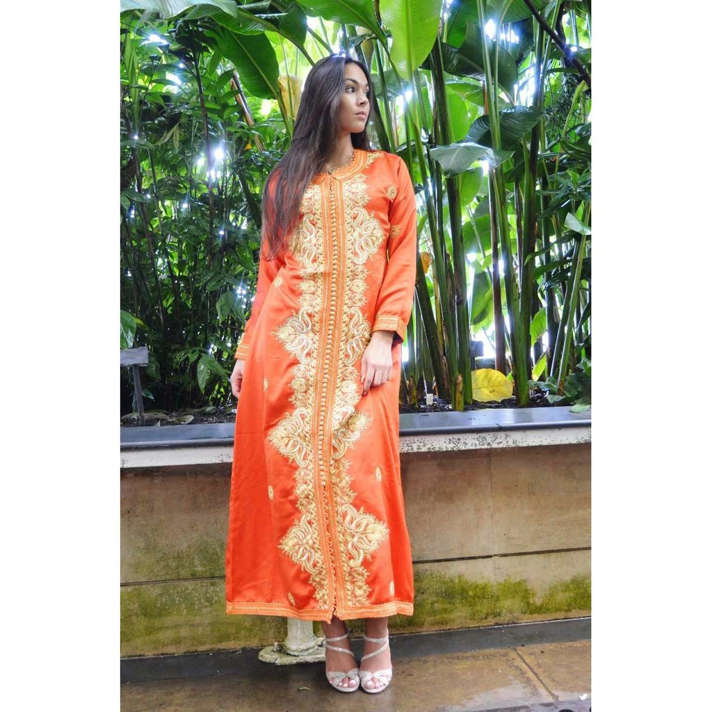 Orange Floral Moroccan Takchita Party Kaftan-Flora Style,Orange Floral Moroccan Takchita Party Kaftan-Flora Style