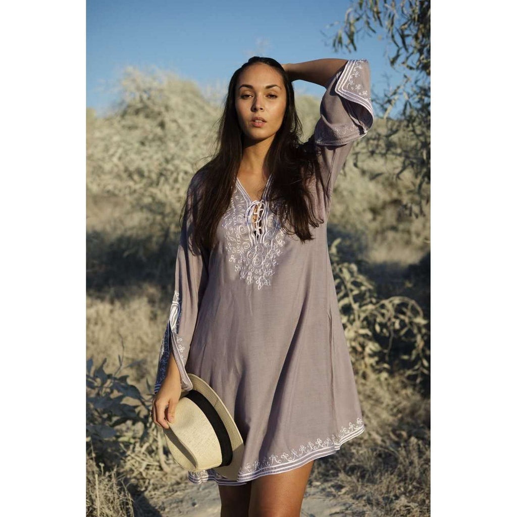 GreyEmbroidery Nadia Tunic Dress - Moroccan Tunic - Maison De Marrakech