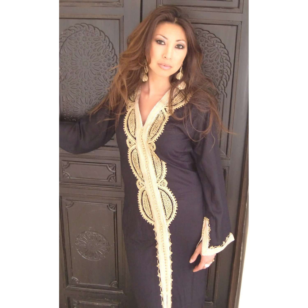 Black Kaftan Maxi Dress -Lella Style - Maison De Marrakech