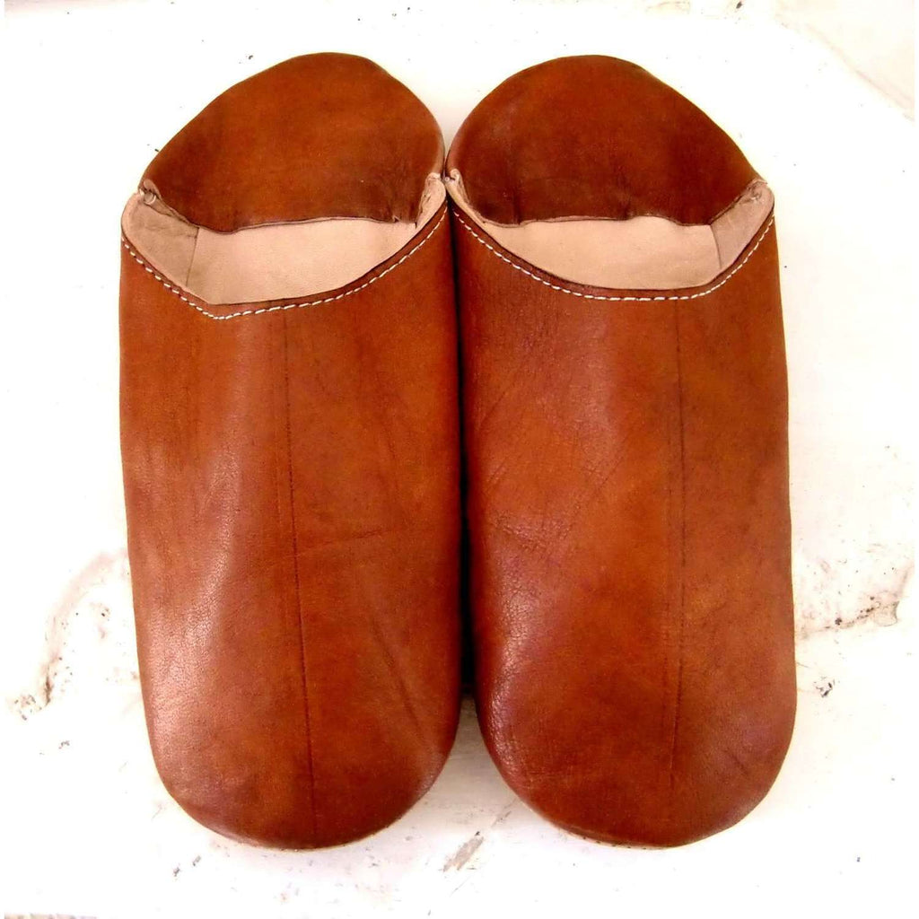 Men & Women Tan Coloured Babouche Slippers - Maison De Marrakech