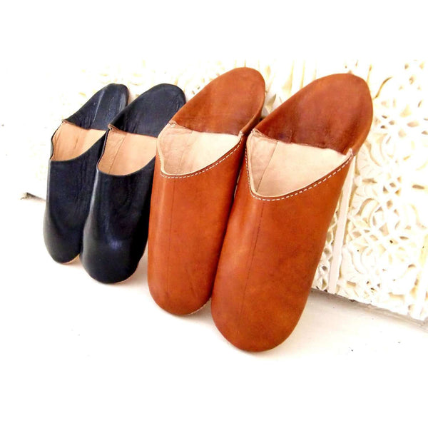 Women Tan Coloured Babouche Slippers - Maison De Marrakech