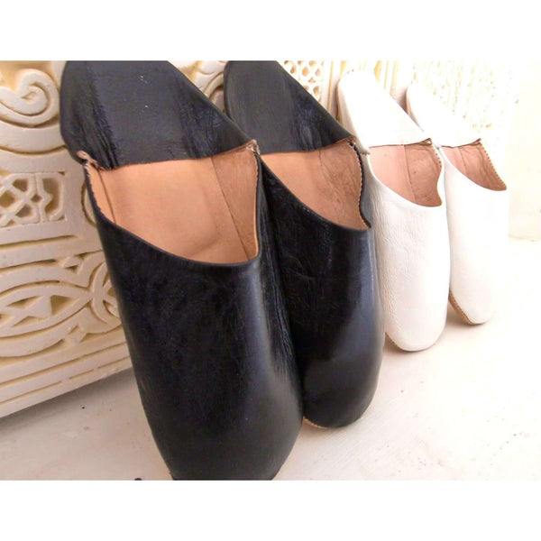 Black or White Leather Home Slippers - Maison De Marrakech