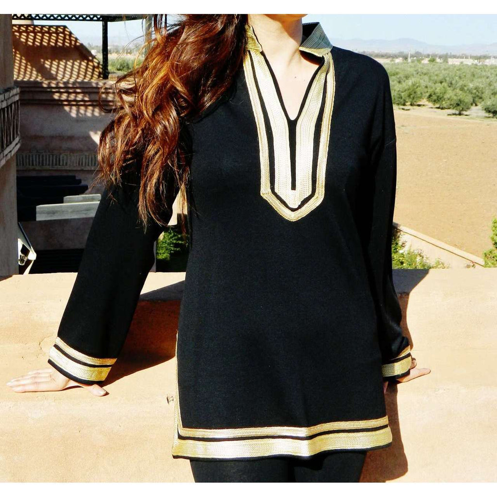 Mariam Black Tunic with Golden Embroidery- perfect for resort wear, boho wear, as birthday gifts - Maison De Marrakech