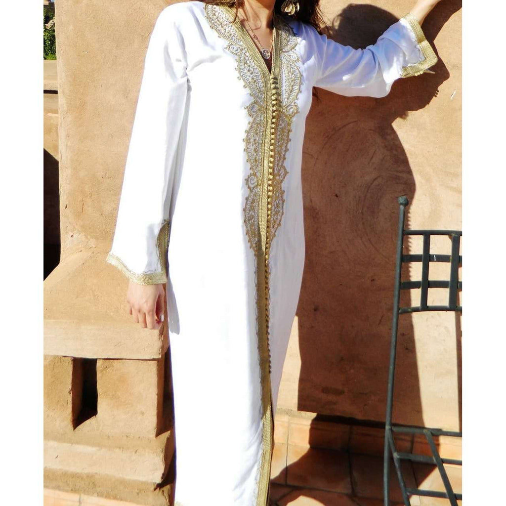 White with Gold Moroccan Kaftan-Lella Style - Maison De Marrakech