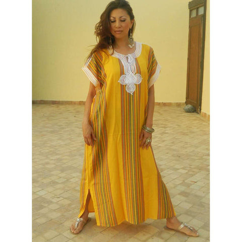 Resort Caftan Bedoin Style- Yellow - Maison De Marrakech