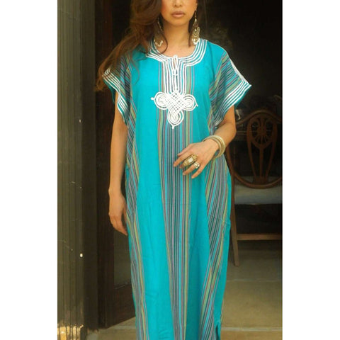 Resort Caftan Kaftan Bedoin Style- Turquoise-Perfect as loungewear, as beachwear, beach cover ups, resort wear, gift for moms and to be moms - Maison De Marrakech