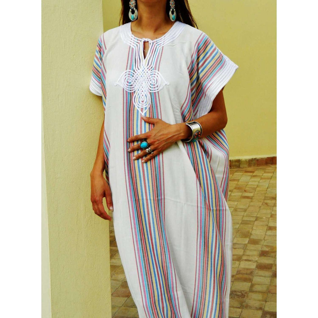 Resort Caftan Kaftan Bedoin Style- White-Perfect as loungewear, as beachwear, beach cover ups,resortwear, Kaftan, maternity, birthday gifts - Maison De Marrakech