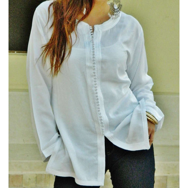White Magrib Shirt -perfect for casualwear, loungewear, as birthday, honeymoon gifts for her, resortwear - Maison De Marrakech