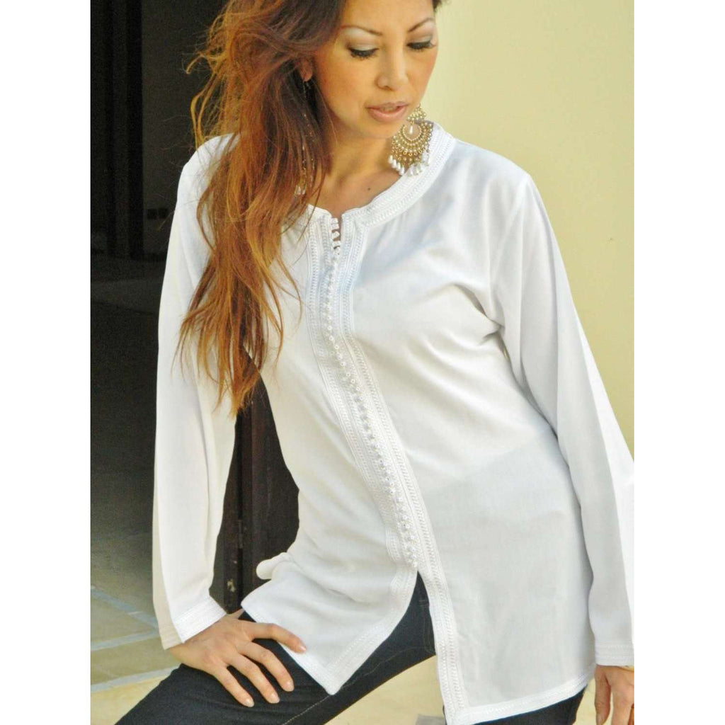 Autumn New White Magrib Moroccan Embroidery Shirt Tunic - Maison De Marrakech