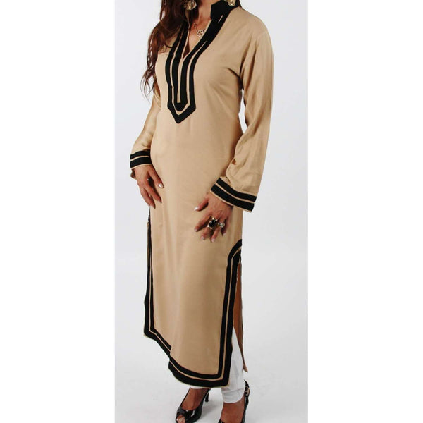 Maryam Style Beige Moroccan Caftan Dress  - - Maison De Marrakech