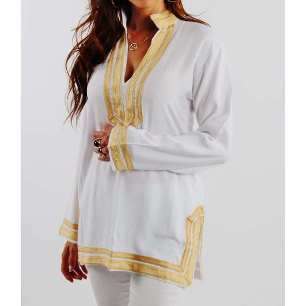 Mariam Style White Tunic with Golden Embroidery - Maison De Marrakech