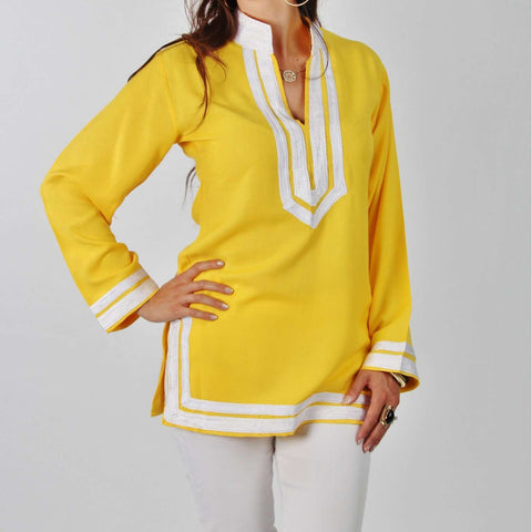 Mariam Style Yellow Tunic with White Embroidery - Maison De Marrakech