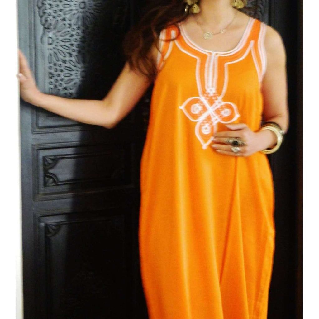Resort Non-Sleeve Orange Kaftan Agadir Style - Maison De Marrakech
