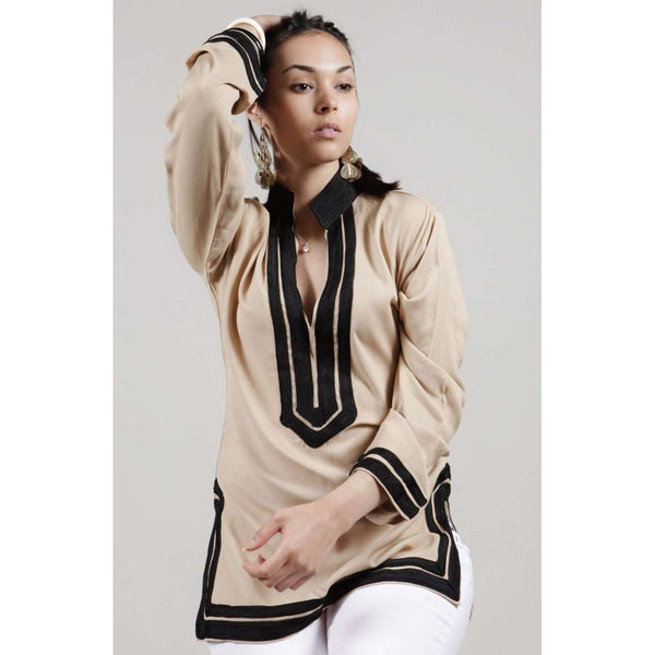 Beige Tunic with Black Embroidery- Mariam - Maison De Marrakech