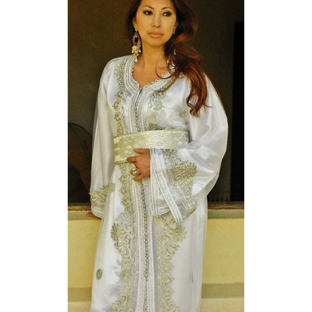 Moroccan 2 Piece Takchita Party Kaftan Modern -White Embroidery - Maison De Marrakech