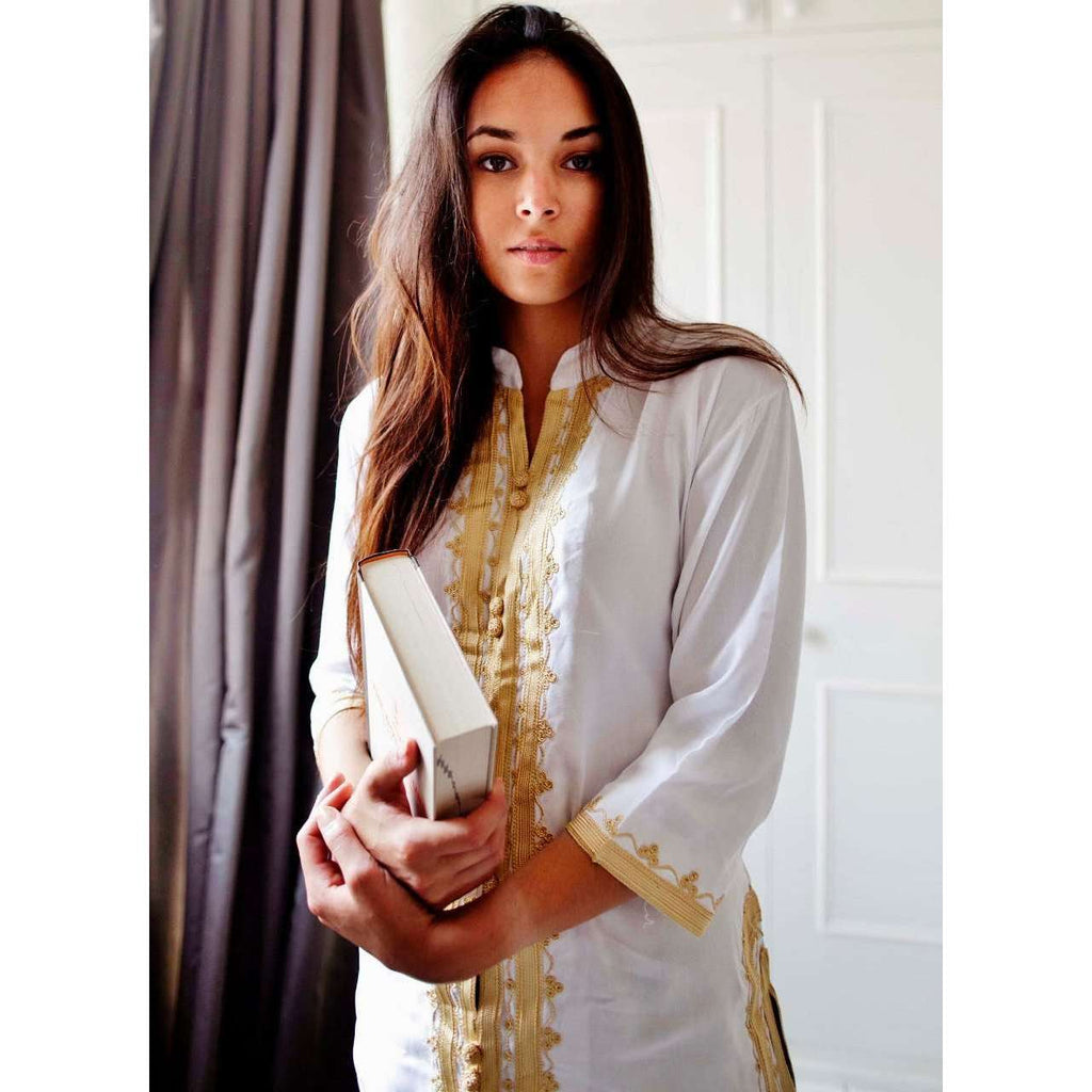 Marrakech White Gold Embroidery Tunic-Moroccan Tunic