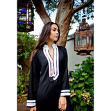 Black Kaftan with White Embroidery- Mariam Style - Maison De Marrakech