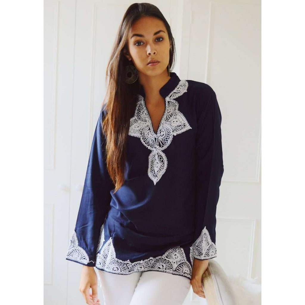 Navy Tunic with White Embroidery-Salma Style - Maison De Marrakech