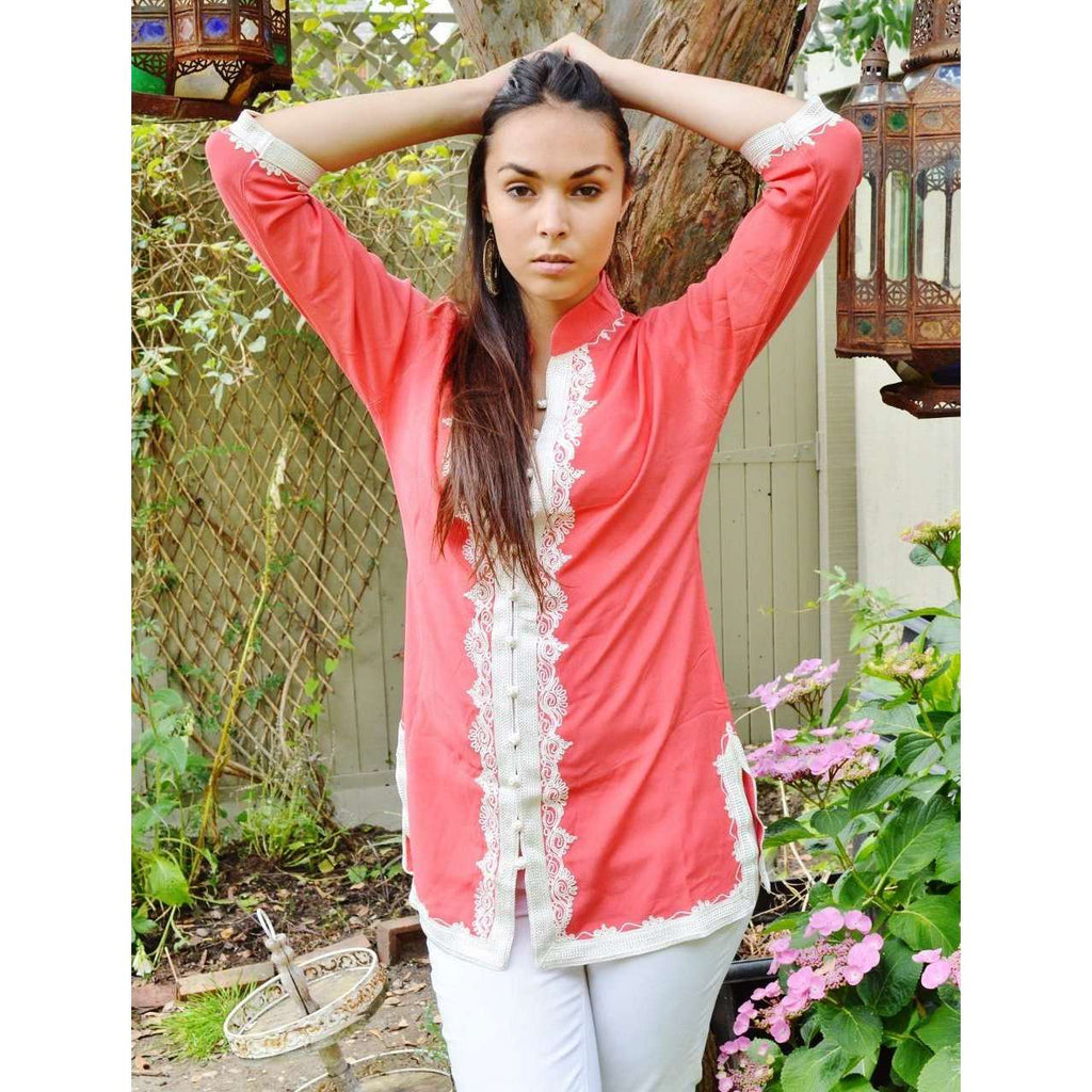 Handmade Salmon Pink and White Moroccan Tunic