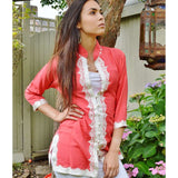 Handmade Salmon Pink and White Moroccan Tunic - Maison De Marrakech