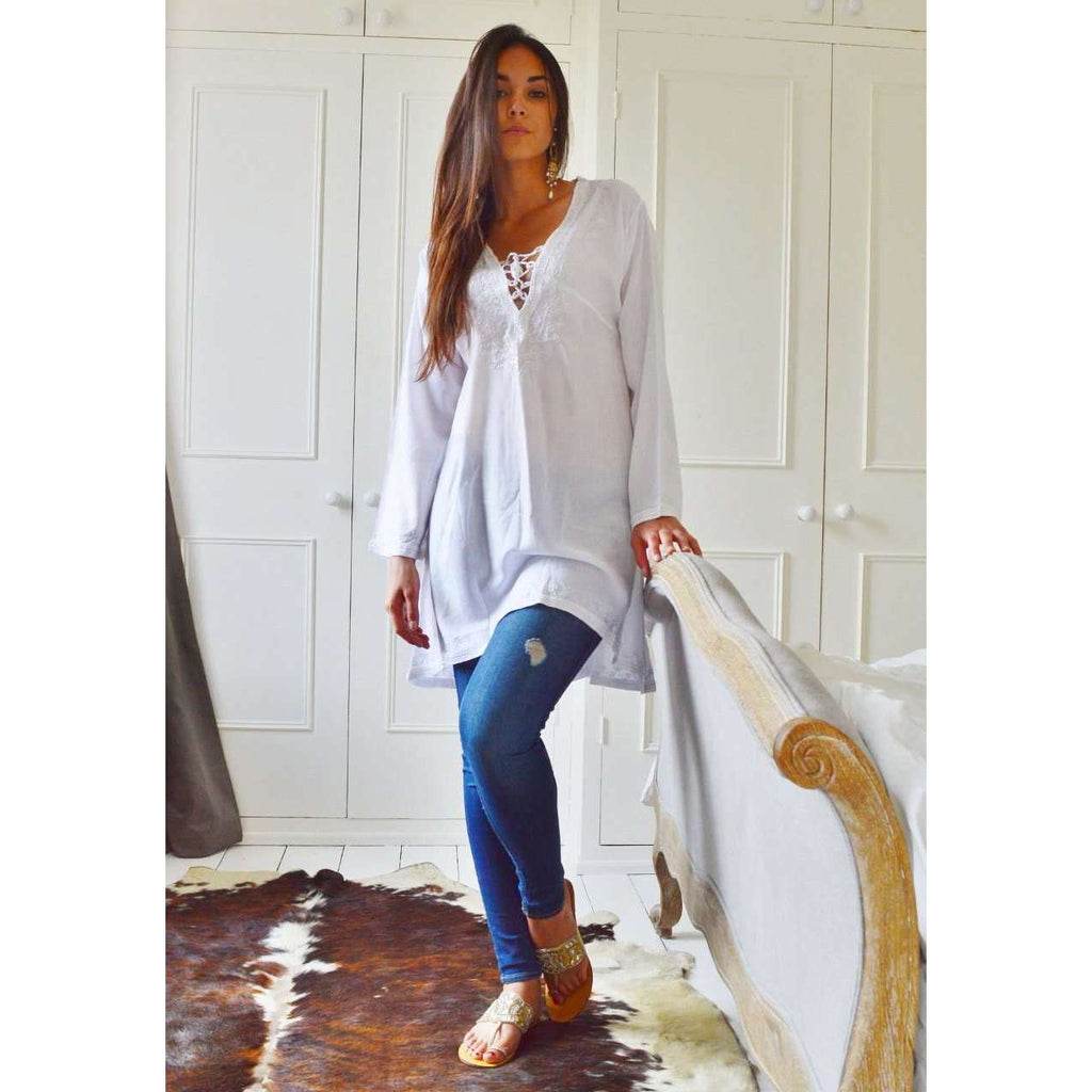 White Tunic Embroidered Karmia Syle Tunic - Maison De Marrakech