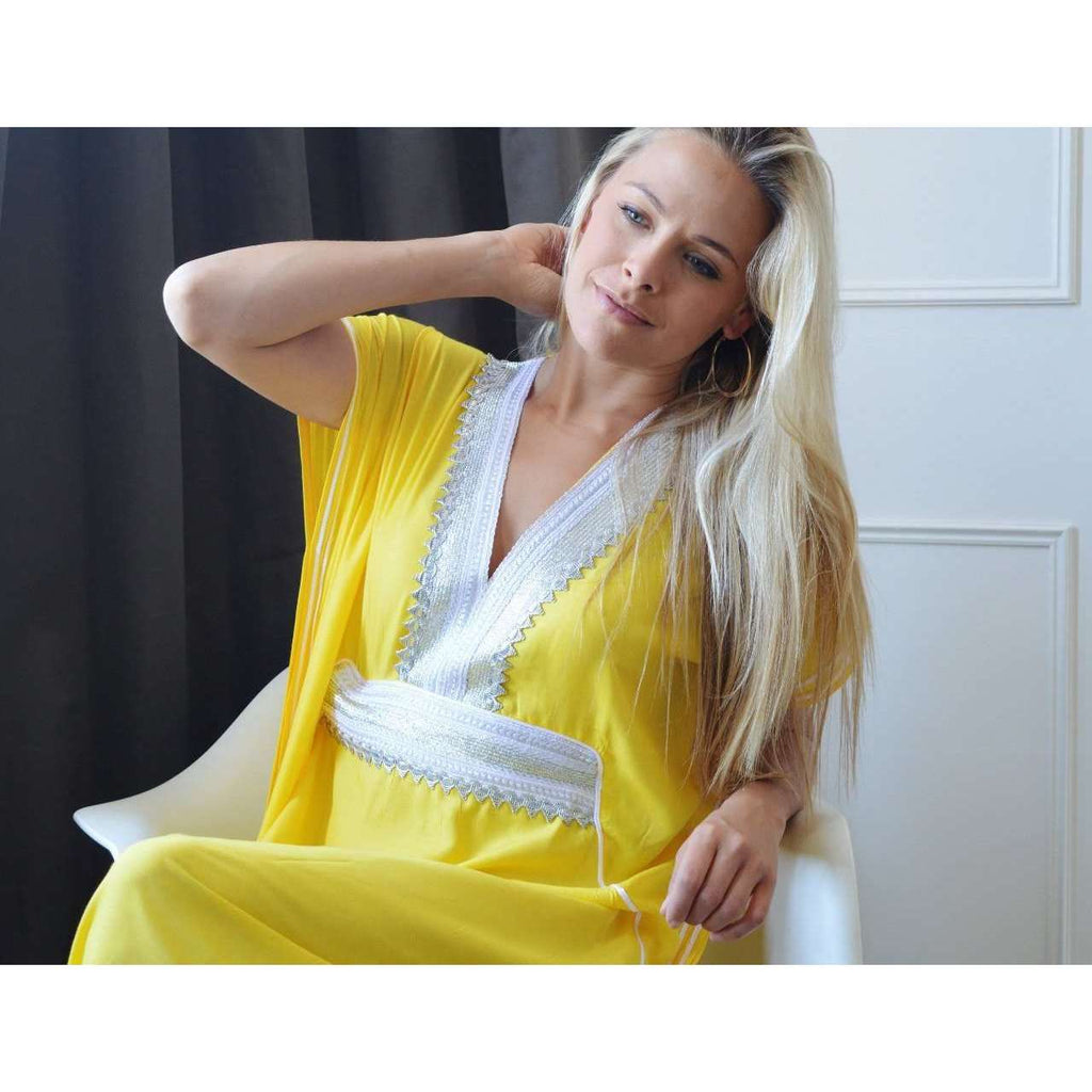Beach Yellow Marine Kaftan Resortwear - Maison De Marrakech