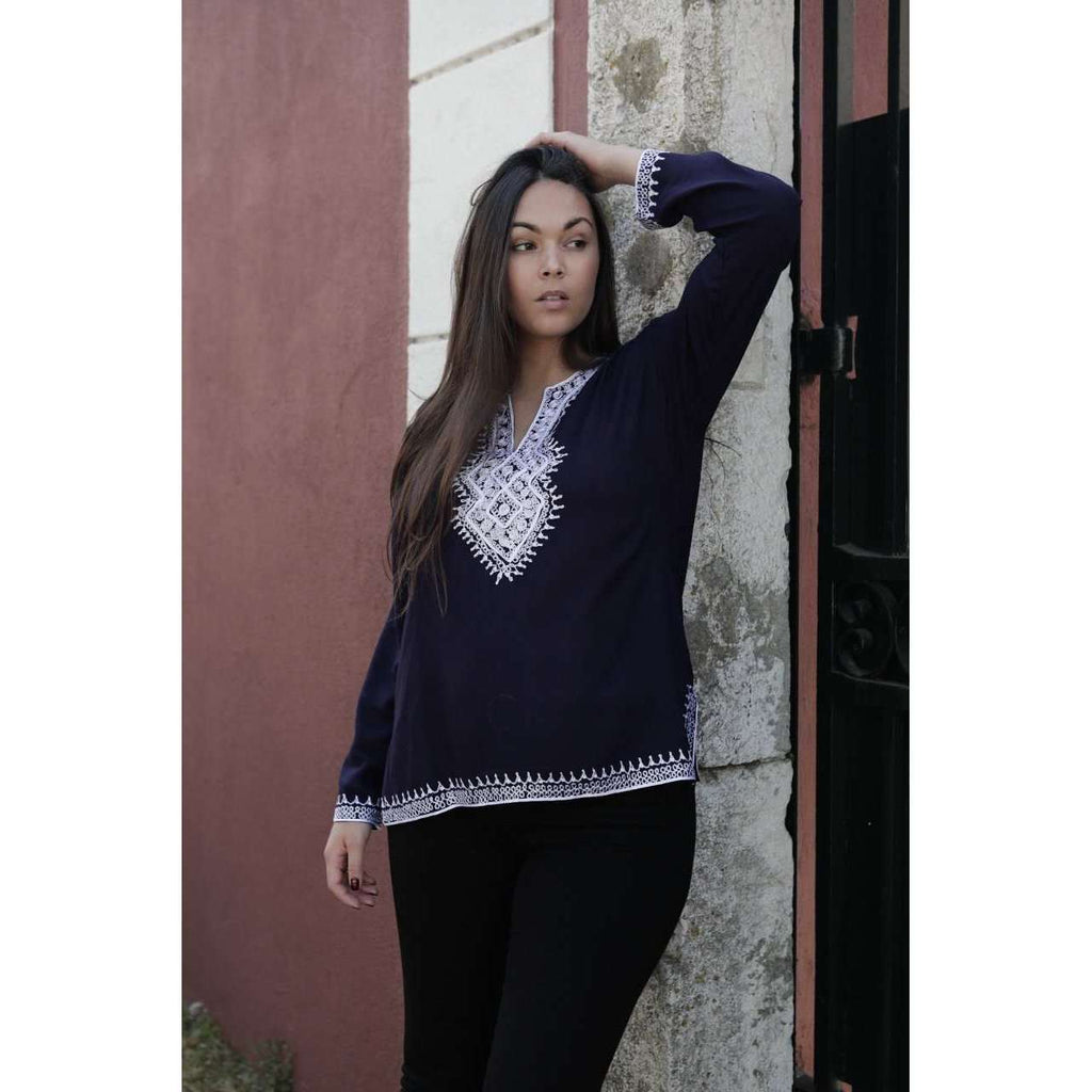 Asmahan Style Navy Blue Embroidery Tunic