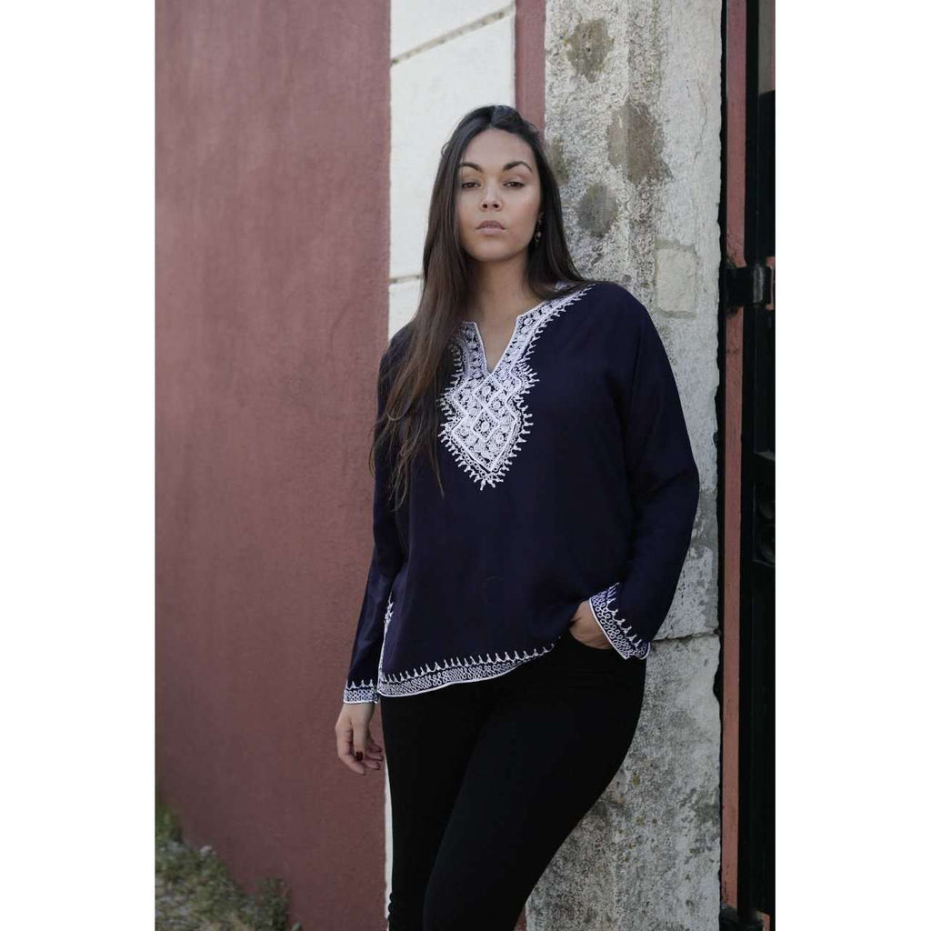 Asmahan Style Navy Blue Embroidery Tunic,Asmahan Style Navy Blue Embroidery Tunic